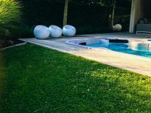 zwembad met decoratieve elementen in de tuin